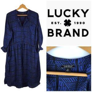 Lucky Brand Blue Long Sleeve Button Front Dress